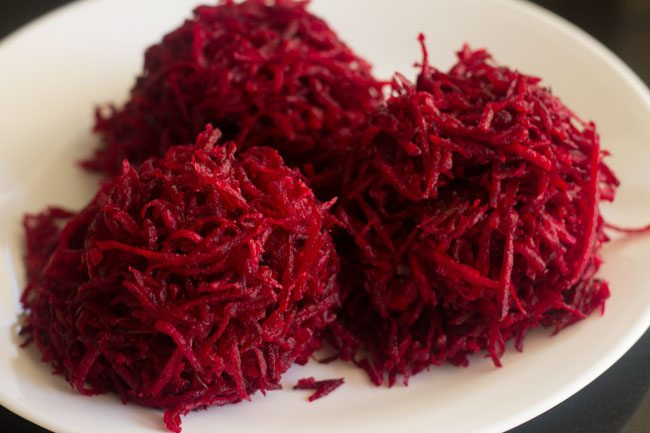 grated beetroots