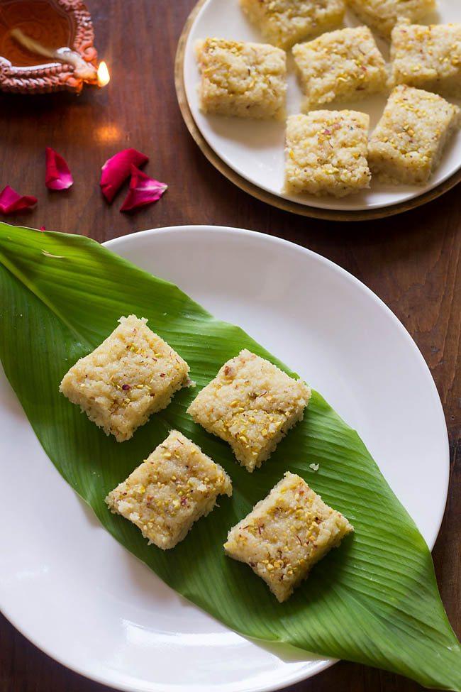 quick coconut barfi recipe, nariyal barfi recipe