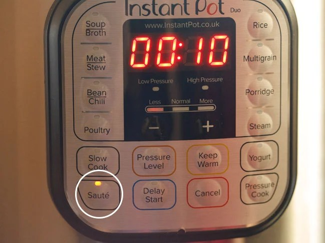press the saute button of instant pot on less mode