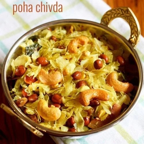 poha chivda recipe, roasted thin poha chivda recipe