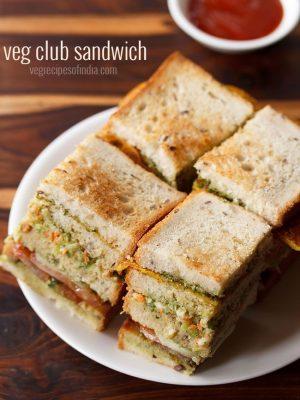 veg club sandwich recipe, club sandwich