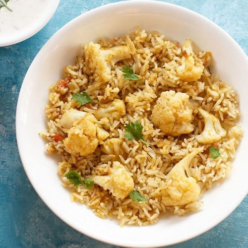 gobi biryani recipe, cauliflower biryani recipe