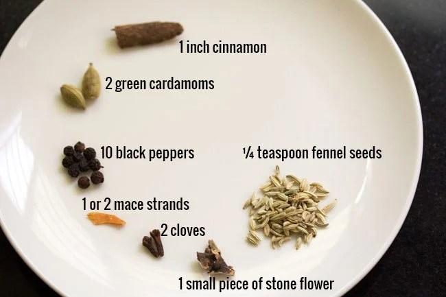 spices for Dindigul veg biryani