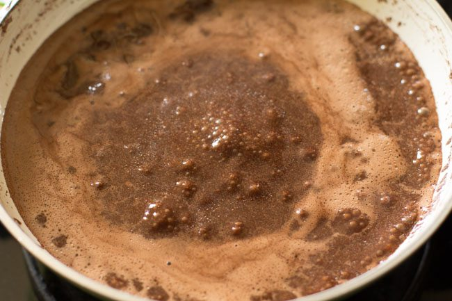 chocolate mixture for eggless chocolate cake recipe in pressure cooker