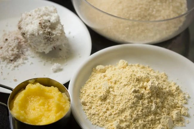 ingredients for making 7 cup burfi recipe