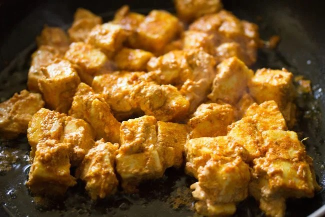 paneer cubes for making paneer tikka wrap recipe