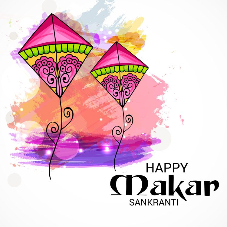 vector image showing two colorful kites signifying makar sankranti festival
