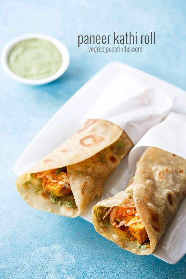 paneer kathi roll recipe, paneer tikka wrap recipe