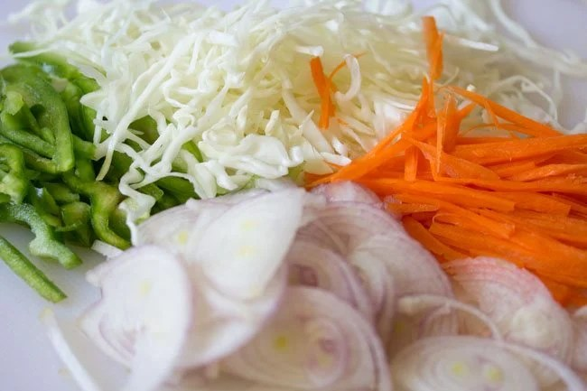 veggies for preparing paneer kathi roll recipe