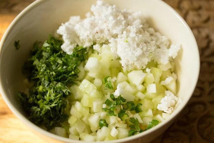 making moong dal kosambari recipe