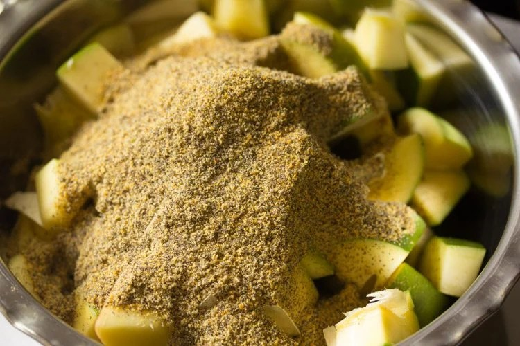 making Andhra mango pickle recipe