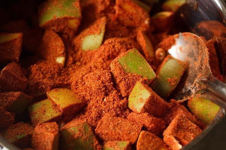 making Andhra avakaya pickle recipe