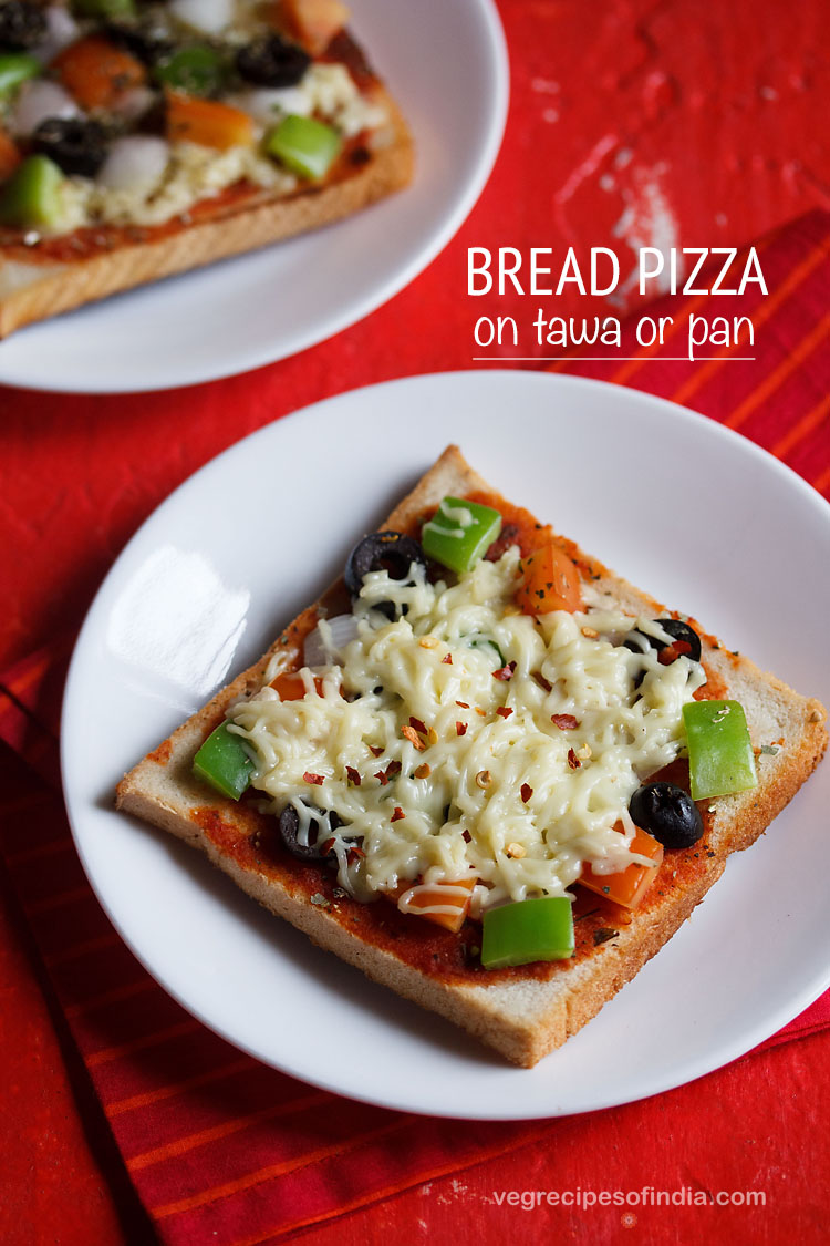 bread pizza, bread pizza on tawa recipe