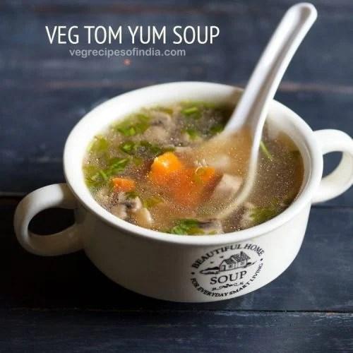 tom yum soup recipe, thai tom yum soup recipe, vegetarian tom yum soup