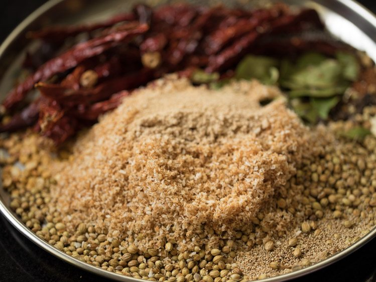 making mysore sambar powder
