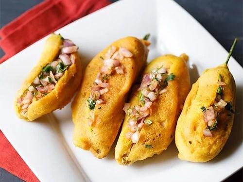 mirchi bajji recipe | Andhra mirapakaya bajji recipe | stuffed mirchi bajji recipe