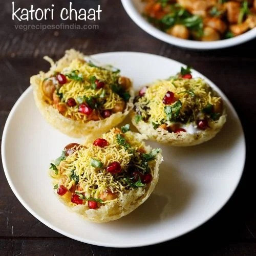 katori chaat recipe, aloo lachha tokri chaat recipe