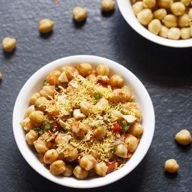chana chaat recipe: chana chaat, quick chana chaat, kabuli chana chaat