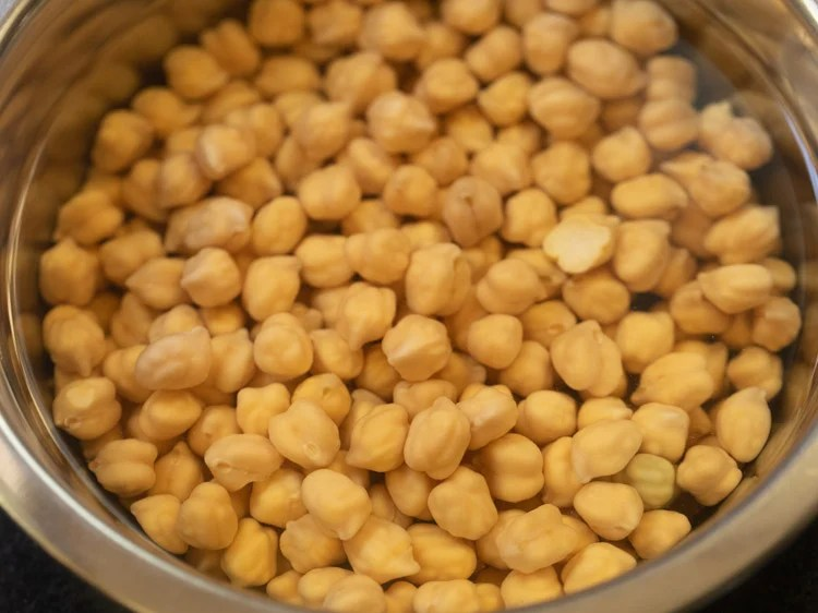 dried chickpeas soaked in water overnight