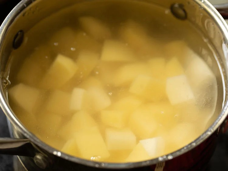 chopped potatoes added in the pan