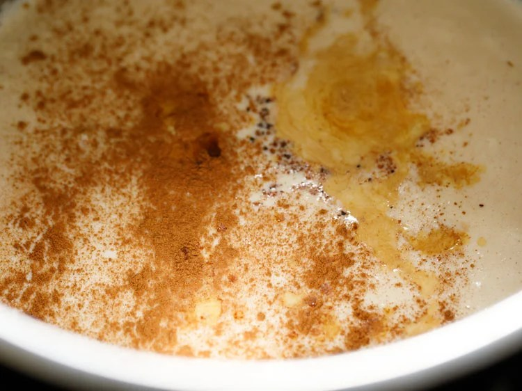 ground cinnamon and vanilla added to the rice pudding