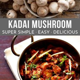 kadai mushroom garnished with coriander leaves, ginger julienne and served in a steel kadai on a white napkin and a bowl of white button mushrooms on top