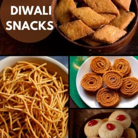 collage of four diwali snack dishes