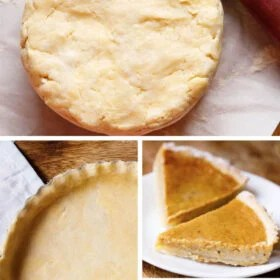 Collage of an pie dough, fluted pie crust in a pie pan and pumpkin pie slice