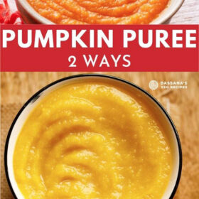 collage of pumpkin puree with a bold text of 'pumpkin puree - 2 ways' mentioned