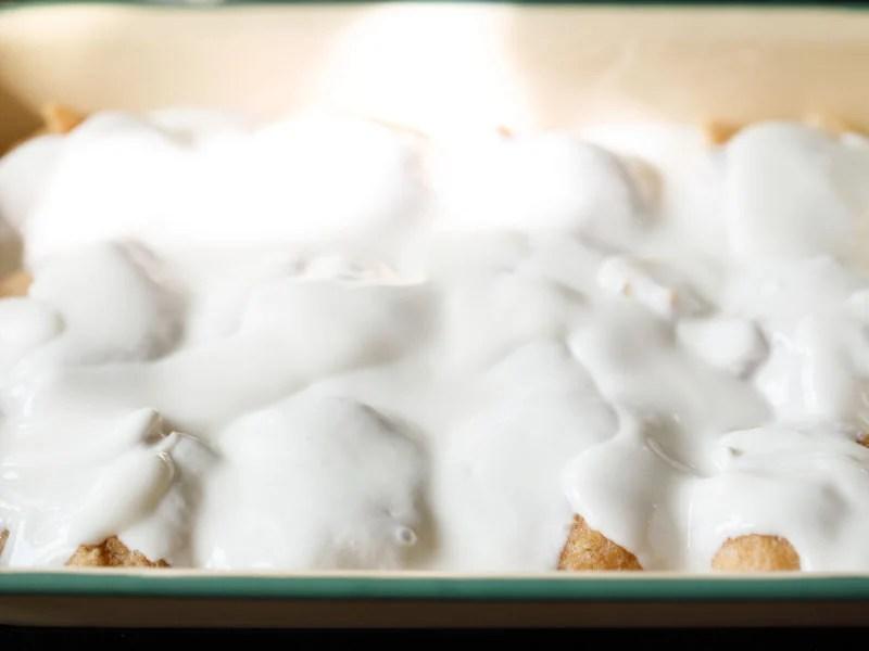 yogurt over fried lentil dumplings
