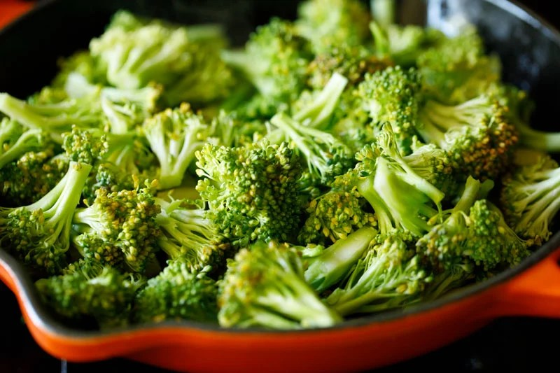 broccoli added in the skillet