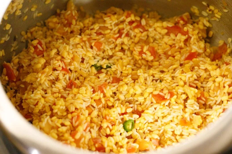 rice and lentils mixed with rest of khichdi ingredients