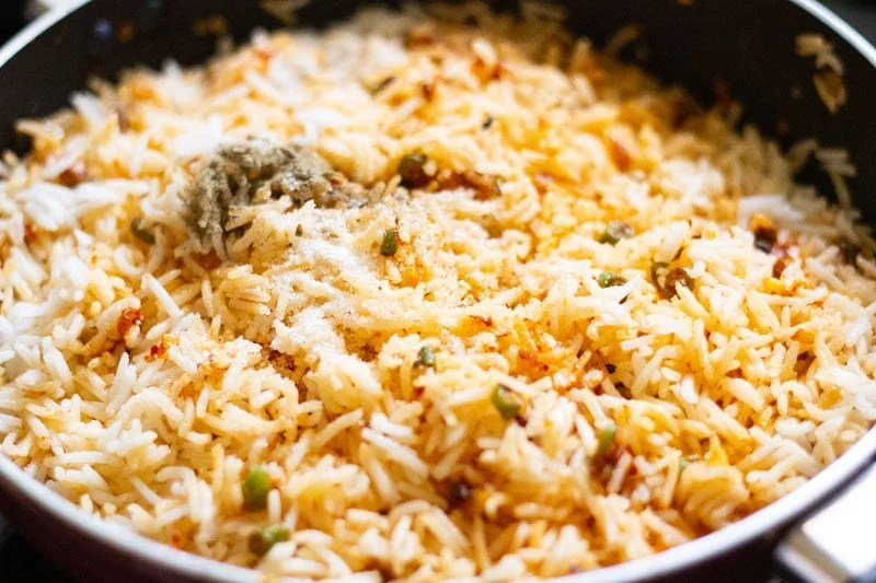 rice mixed and salt, pepper added