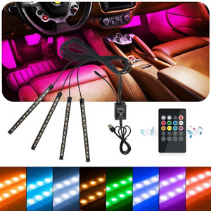 Auto Atmosfera Luce Illuminazione Interna a LED auto luci LED USB Port caricabatteria da auto illuminazione interni auto con telecomando