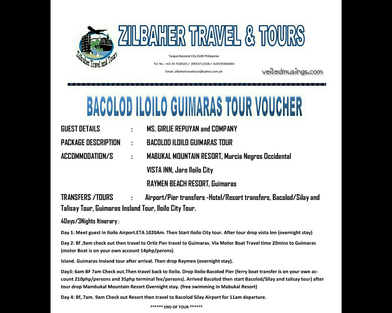 Zilbaher On The Go Tours Bacolod Iloilo Guimaras 2016 Itinerary