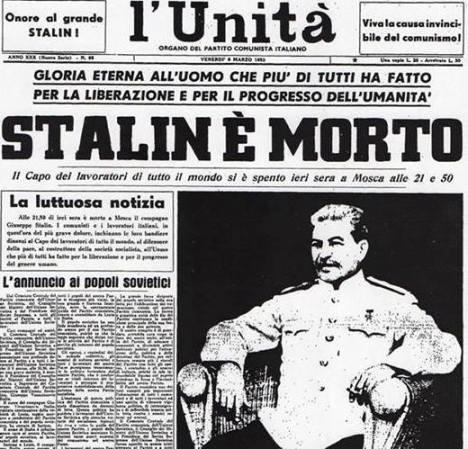 stalin morte giornale unita