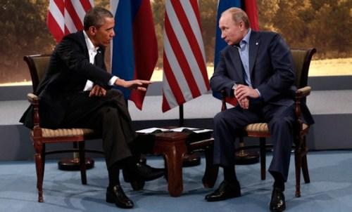 Barak Obama a colloquio con Vladimir Putin.