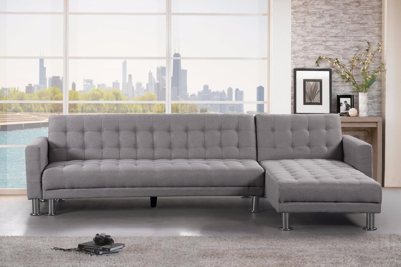 Light Grey Fabric Sectional Sleeper Sofa Attalens