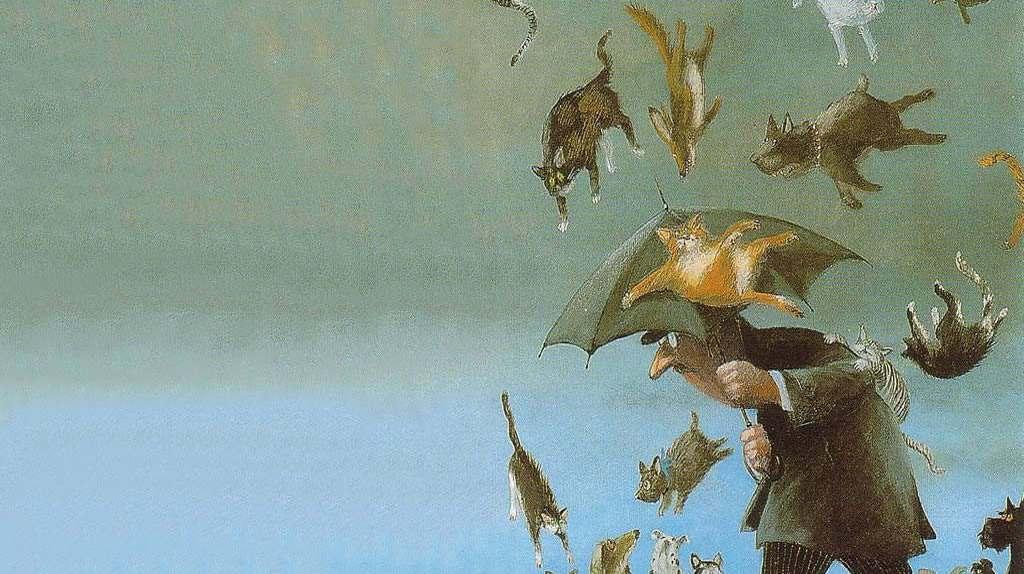 anglická přísloví prší kočky a psi