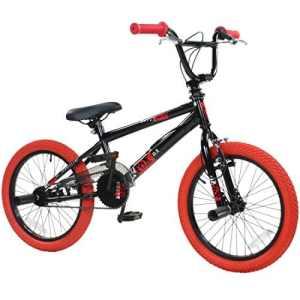 deTOX Vélo BMX 18″ Freestyle pour enfants et débutants à partir de 120cm, à partir de 6ans, noir/rouge