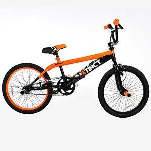 Vélo MBM Instinct BMX, cadre en acier, 20″, 1 vitesse, taille 28, noir et orange
