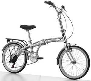 Velo Pliant Car Bike en Aluminium de 20 Pouces Shimano 6 V Argent