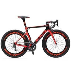 Velo de route carbone, SAVADECK Phantom2.0 700C Vélo de course homme Fibre de Carbone SHIMANO Ultegra 6800 22-Vitesses Système 25C Pneus Selle Fi'zi: k Route (47cm, Nouveau Rouge)