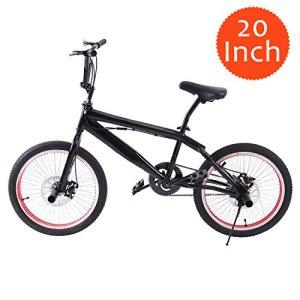 Ridgeyard Vélo BMX Freestyle 20″ 6 vitesses Rotor System 360°4 chevilles BMX Bike (Noir + Rouge)