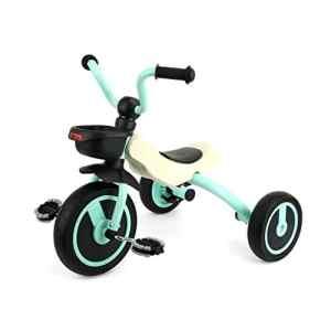 Gosfun Tricycle Pliable Petit Vélo et Véhicule 3 Roues Silencieuses pour Enfant 2 à 5 Ans (Taille du corps: 90–120CM) Charge 25 kg Couleur Vert