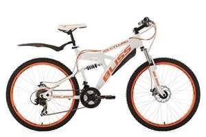 KS Cycling Vélo entièrement VTT, 26'', Bliss, Hauteur du Cadre 47cm, Mixte, Fahrrad Mountainbike Fully 26 Zoll Bliss RH 47 cm, Blanc/Orange