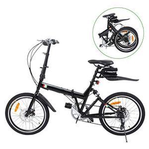 Ridgeyard Vélo pliant Bicyclette pliable 20 pouces 6-Speed + Lumière de batterie de LED + sac de siège + cloche de vélo (noir)