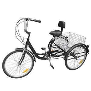Paneltech 24 » 6 Vitesses Gears 3 Roue Tricycle Adulte Vélo pour Adultes Confort Vélo Sports de plein air Ville Panier de vélo urbain inclus