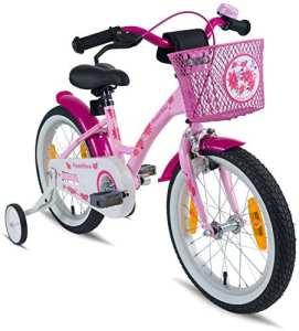 Prometheus vélo pour filles 16 pouces en rose et violet à partir de 5 ans avec stabilisateurs et rétropédalage – vélo enfant 16 pouces Classic Edition 2019