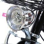 Ridgeyard 28 Pouces Vélos de Ville Homme Femme 7 Vitesses Femme City Bike Outdoor Sports City vélo Shopper vélo Light Blue + Basket + Bell + Batterie-alimenté lumière (Noir)